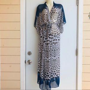Nicole Miller Leopard Robe/ Beach Cover Size S/M